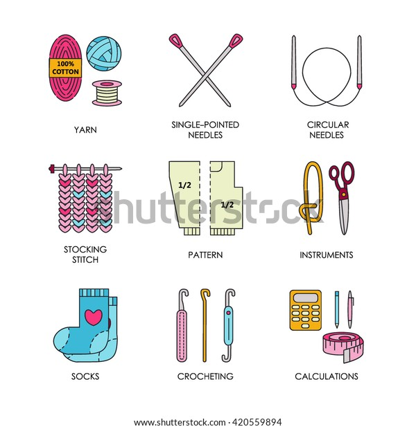 Modern Vector Line Icons Set Knitting Stock Vector Royalty Free 420559894