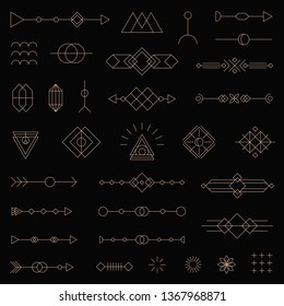 Modern vector line symbol set made in Tribal style. Collection of 33 geometric line art design elements. Isolated on black background.