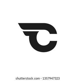 Modern Vector Logo Letter C. C Letter Design Vector Double Wing