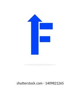 Modern Vector Logo Letter F With Arrow. F Letter Design Vector Arrow