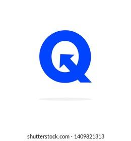 Modern Vector Logo Letter Q With Arrow. Q Letter Design Vector Arrow