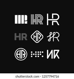 Modern Vector Logo Letters HR. HR Letters Design Vector Arrow