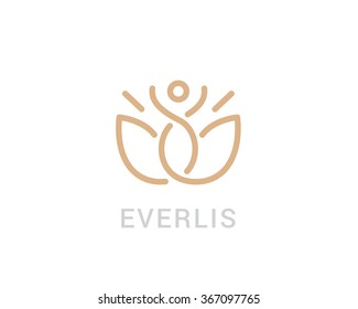 Modern vector logo in a linear style. Fitness room, yoga center, spa facilities, lotus flower, Fashion and beauty.