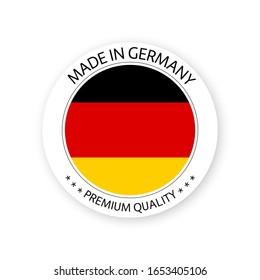 Modern vector Made in Germany label isolated on white background, simple sticker with German colors, premium quality stamp design, flag of Germany