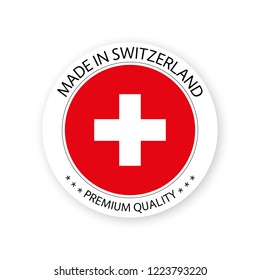 Modern vector Made in Switzerland label isolated on white background, simple sticker with Swiss colors, premium quality stamp design, flag of Switzerland