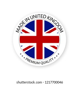 Modern vector Made in United Kingdom label isolated on white background, simple sticker with British colors, premium quality stamp design, flag of United Kingdom
