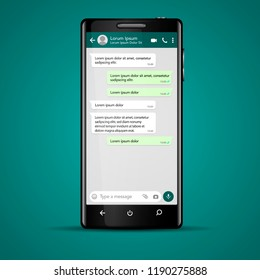 Modern vector mobile phone illustration with chat screen app, messaging template. Social network, chatting and messaging concept