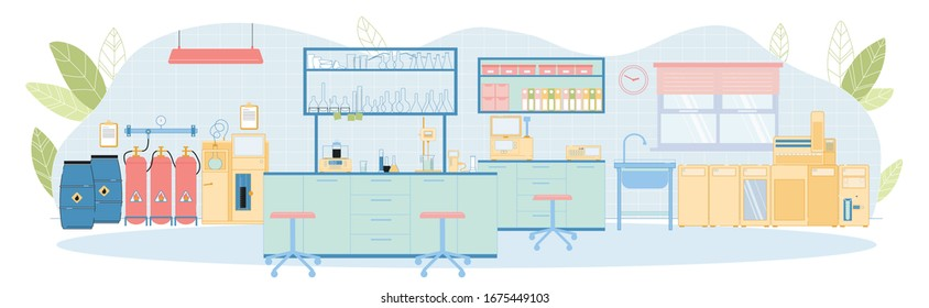 Modern Vector Petrochemical Laboratory Empty Interior with Wall Mounted Furniture, Three Cylinder Gas System, Oil Distillation Apparatus, Sticker, Cloud Point Analyzer, Abrasimeter, Glassware