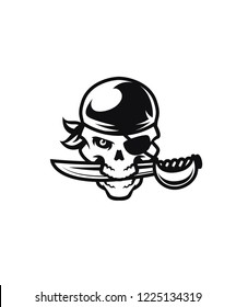Modern vector pirate skull with saber sports logo mascot template
