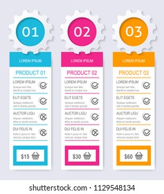 Modern vector product pricing comparison table with description