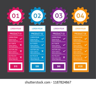 Modern vector product pricing comparison design template