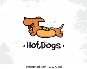 Modern vector professional sign logo hot dogs