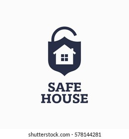 Modern vector professional sign logo safe house