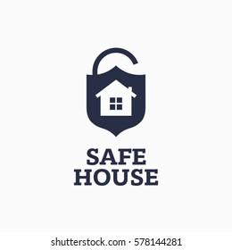 Modern vector professional sign logo safe house