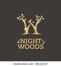 Modern vector professional sign logo night woods