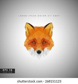 Modern vector red fox in polygonal style