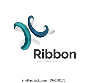 Modern vector ribbon logo, multicolored curve line with transparent elements. Business swirl icon