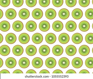 Modern vector seamless pattern with cute kiwi fruits. All elements  are  hidden under mask. Pattern are not cropped and can be edited