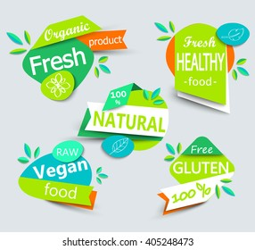 Modern vector set of healthy organic food labels, tags, emblems, logo for meal and drink,cafe, restaurants and  products packaging.Vector illustrated.