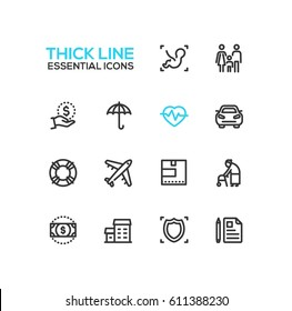 Modern vector single thick line icons set. Baby, embryo, family, dollar, hand, umbrella, pulse, car, life preserver, plane, box, senior person, bill, house, shield, note, pen