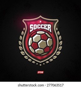 Modern vector soccer winner gold shield emblem with olive branch