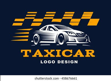 Modern vector taxi cab logo for company.