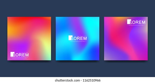 Modern vector template for brochure cover banner. Abstract fluid 3d shapes vector trendy liquid colors backgrounds set. Colored fluid graphic composition illustration