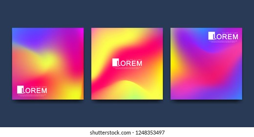 Modern vector template for brochure cover banner. Abstract fluid 3d shapes vector trendy liquid colors backgrounds set. Colored fluid graphic composition illustration.