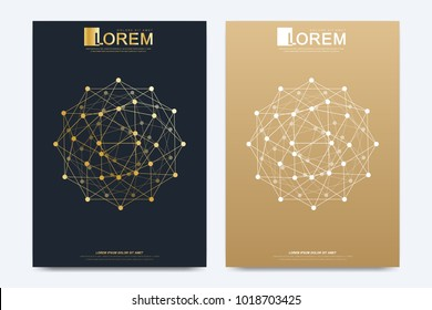 Modern vector template for brochure Leaflet flyer advert cover catalog magazine or annual report. Geometric pattern with connected lines and dots. Cybernetic dots. Lines plexus. Card surface