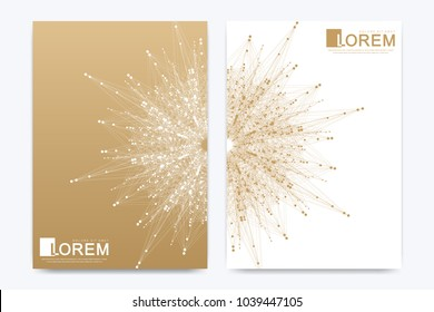 Modern vector template for brochure Leaflet flyer advert cover catalog magazine or annual report. Golden layout in A4 size. Business, science and technology design. Presentation with golden mandala