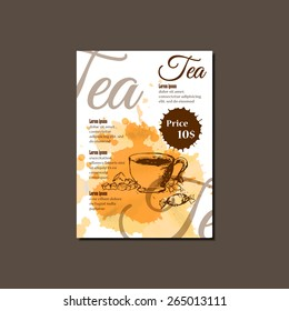 Modern Vector Template for Cupcake an Tea glass cup Brochure, Report, Poster, Banner or Flyer Design. Watercolor paint Background and sketch style elements.Can be used for restaurant menu design.