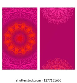 Modern Vector Template With Tribal Mandalas. For Brochure, Flyer, Cover, Magazine. Red color.