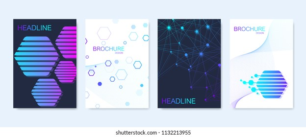 Modern vector templates for brochure, cover, banner, flyer, annual report, leaflet. Abstract art composition with hexagons, connecting lines and dots. Wave flow. Digital technology or medical concept