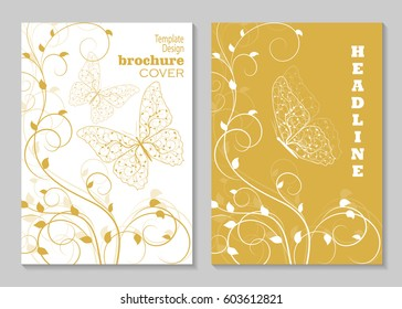 Modern vector templates for brochure cover in A4 size. Plant pattern in a shape of a butterfly and curling bush.