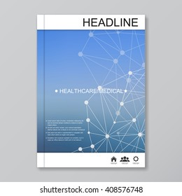 Modern vector templates for brochure, flyer, cover magazine or report in A4 size. Molecule structure and communication on the blue background.