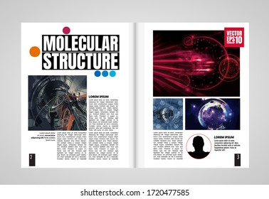 Modern vector templates for brochure, magazine, flyer, booklet with technology concept in background