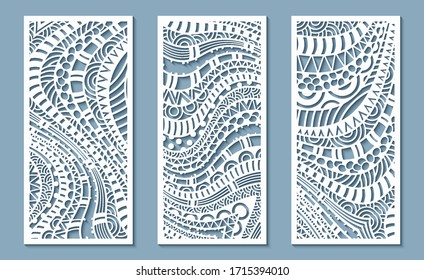 Modern vector volumetric ethnic ornamental stripe banners set. Trendy craft style illustration. 3d effect imitation