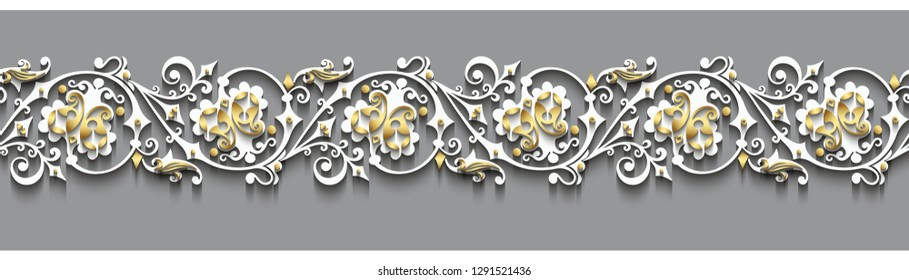 Modern vector volumetric floral ornamental stripe background. Trendy craft style illustration. 3d effect imitation