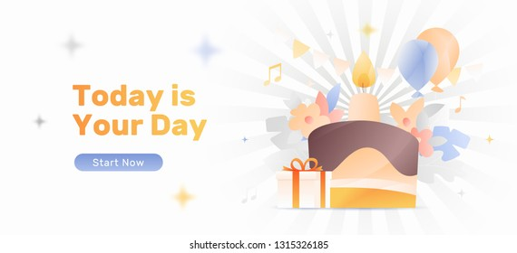 Modern vector web banner template of birthday celebration with a cake, candle, flowers, balloons and gift box. - Shutterstock ID 1315326185