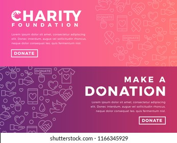 Modern vector website banner templates with charity objects. Card for non-profit organizaiton, fundraising event, volunteer centre. Vector line icon design.