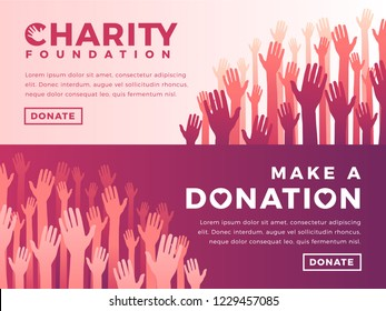 Modern vector website banner templates with charity objects. Card for non-profit organizaiton, fundraising event, volunteer centre. Vector design.