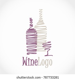 Modern vector wine logo design - two bottles, red and white, and glass of wine - for wine shop, winery, wine house etc.