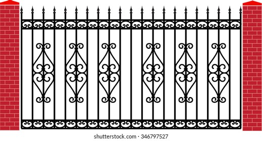 modern vector wrought fence