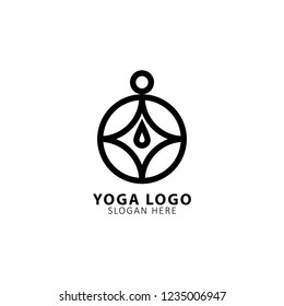 Modern vector yoga logo template in a linear style. Yoga center, Spa facilities, Fashion and beauty, Fitnes room.