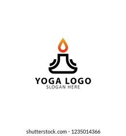Modern vector yoga logo template in a linear style. With candle. Yoga center, Spa facilities, Fashion and beauty, Fitnes room.