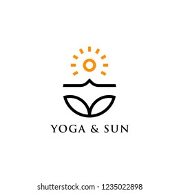 Modern vector yoga logo template in a linear style. With sun. Yoga center, Spa facilities, Fashion and beauty, Fitnes room.
