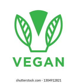 Modern vegan food logo design with abstract green plant leaf icon. Vector illustration.