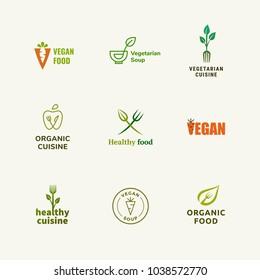 Modern vegetarian food logo collection, restaurant menu design elements, vegan logo, healthy eating
