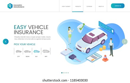 Modern Vehicle Insurance Isometric Web Design Landing Page Template Illustration With professional People And Vehicle Icon Set