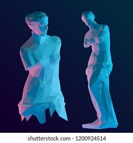Modern Venus Sculpture Set on Dark Background. Roman Goddess of Love. Isolated Vector Illustration. Low Poly 3D Rendering